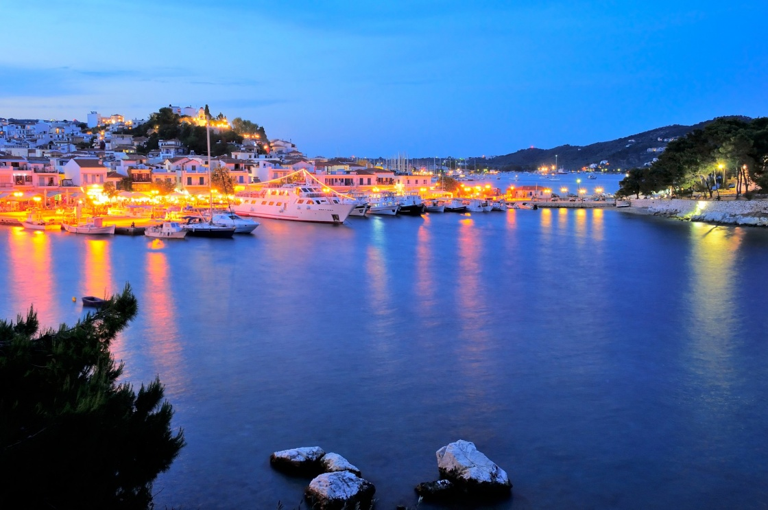 Skiathos town at night,  Skiathos island, Sporades archipelago, Greece